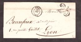 LAC - 25 Décembre 1851 - Gray Pour Lyon - Port Dû Taxe 25 - 1849-1876: Klassik