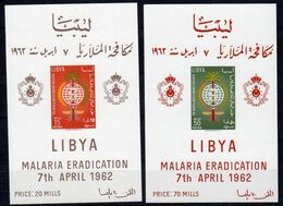 7.4.1962, Eradication Du Paludisme,  YT Bloc No. 2 + 3 NON DENTELÉ / Michel- No.  2 + 3, Neuf ** , Lot 37385 - Libya