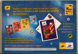 4 Cartes-Postales Illustrées Pré-Timbrées - Prêts-à-poster France 98  - Envoi Prioritaire 20gr VDP Monde Entier - Entiers Postaux