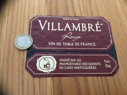Etiquette * «VIN DE TABLE - VILLAMBRÉ» - Vino Rosso