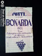 BONARDA PONTI DI GHEMME 1974 - ETICHETTA - ÉTIQUETTE - Vino Rosso