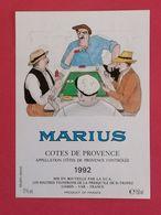 COTES DE PROVENCE ETIQUETTE 1992  DECOREE  BD MARIUS  PAR A .POVEDA     11/08/20 - Fumetti