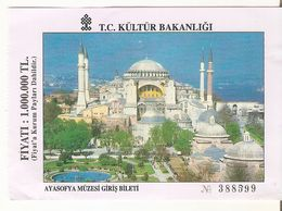 TICKET ENTREE MUSEE SAINTE SOPHIE ISTAMBUL AYASOFIA MUZESI TURQUIE  1998 - Eintrittskarten
