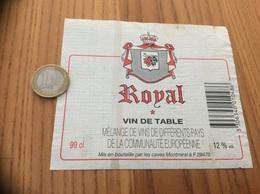Etiquette * «VIN DE TABLE - Royal - Les Caves De Montmirel - Plougastel-Daoulas (29)» - Vino Rosso