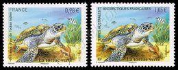 Francia-T.A.A.F. / France-T.A.A.F. 2014: 2 Val. Tartaruga Verde / Green Sea Turtle, 2 Stamps ** - Gemeinschaftsausgaben
