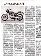 Feuillet De Magazine Moto Honda 500 T 1975 - Moto