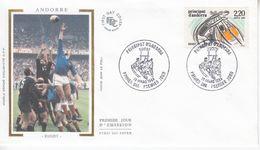 """ Andorre Y.T 368 Sport Rugby .. Fdc Enveloppe Premier Jour Sur Soie 19/03/1988 - Rugby"