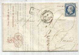 N° 14 PC VALENCIENNES LETTRE COVER  ENTETE RAFFINEURS DE SUCRE 1856 NURA GRAS NORD - Marcofilia (sobres)