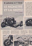 Feuillet De Magazine Moto Le Monstre, Moteur 8 Cylindres Chrysler , Par Pierre Tébec - Moto
