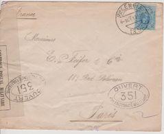 Lettre De Valencia Pour Paris, 04.10.1916, Avec Censure 351 Et Bande Contrôle Postal Militaire - 1889-1931 Royaume: Alphonse XIII