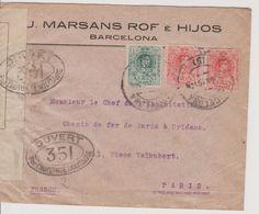 Lettre De Barcelona Pour Paris, 03.06.1918, Avec Censure 351 Et Bande Contrôle Postal Militaire - 1889-1931 Royaume: Alphonse XIII
