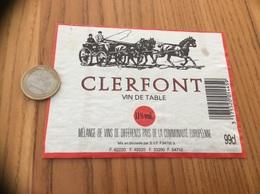 Etiquette * «VIN DE TABLE - CLERFONT - SVF» (carrosse, Cheval)  Type 1 - Vino Rosso