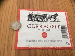 Etiquette «VIN DE TABLE - CLERFONT - SVF» (carrosse, Cheval)  Type 2 - Vino Rosso