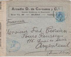 Lettre De Bilbao Pour La France, 01.1916, Avec Censure 358 Et Bande Contrôle Postal Militaire - 1889-1931 Royaume: Alphonse XIII