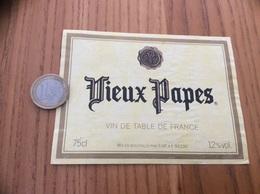 Etiquette «Vin De Table - Vieux Papes - SVF (92) » Type 3 - Vino Rosso
