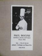 Petite Carte De Visite Gastronomie Célèbre Chef Cuisinier PAUL BOCUSE Meilleur Ouvrier De France PARIS 1961 - Tarjetas De Visita