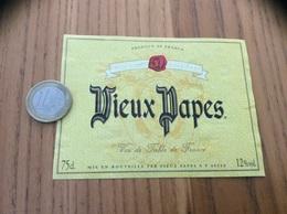 Etiquette «Vin De Table - Vieux Papes - F (49) » Type 1 - Vino Rosso