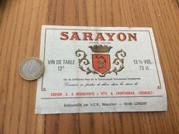 Ancienne Etiquette *x «Vin De Table - SARAYON - COVIOR - SÈTE & FRONTIGNAN (34) » - Vino Rosso