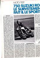Feuillet De Magazine Moto Suzuki Roca 750,1974, Test - Moto