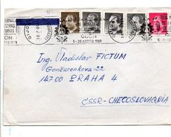 ESPAGNE AFFRANCHISSEMENT COMPOSE SUR LETTRE POUR LA TCHECOSLOVAQUIE 1989 - 1931-Heute: 2. Rep. - ... Juan Carlos I