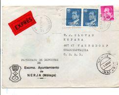 ESPAGNE AFFRANCHISSEMENT COMPOSE SUR LETTRE EXPRES POUR LA TCHECOSLOVAQUIE 1987 - 1931-Heute: 2. Rep. - ... Juan Carlos I