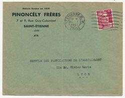 FRANCE - Env Affr 5F Rose GANDON (vendu 4,50F) De St Etienne R.P. 23/1/1947 En Tête Pinoncély Frères - France