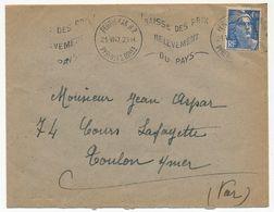 FRANCE - Env Affr 4,50F Gandon OMEC Perpignan RP 21/6/1947 Baisse Des Prix Relèvement Du Pays - France