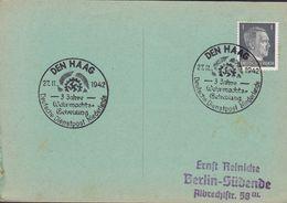 Deutsches Reich Sonderstempel DEN HAAG 1942 Deutsche Dienstpost Niederlande - 3 Jahre Wehrmachts-Betreuung Card Karte - Occupation 1938-45