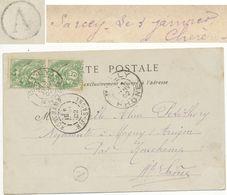 RHONE CP 1902 BULLY + BOITE RURALE A = SARCEY - 1877-1920: Periodo Semi Moderno