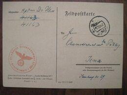 Feldpost 1942 Fp 41163 Nach Iena 2 WK Allemagne Germany Dt Rustungs-Inspektion Ukraine Stempel Inspection Panzers - Occupation 1938-45