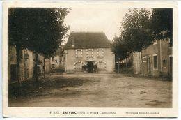 SALVIAC Place Cambornac - Carte Sépia . Ecrite Voyagé 1947 - Salviac
