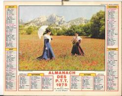 Calendrier 1975, Almanach Des P T T Postes,Facteur . Costume Provençal Moulin   ,Département 84 , Double Face - Tamaño Pequeño : 1971-80