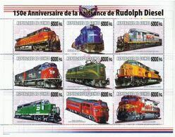 Guinea 2008, Trains, 150th Rudolf Diesel,  Overprinted I 9val In BF - Guinée (1958-...)