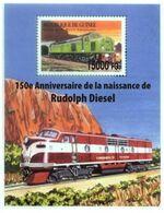 Guinea 2008, Trains, 150th Rudolf Diesel,  Overprinted I BF - Guinée (1958-...)