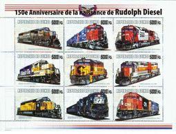 Guinea 2008, Trains, 150th Rudolf Diesel,  Overprinted II 9val In BF - Guinée (1958-...)