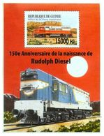 Guinea 2008, Trains, 150th Rudolf Diesel,  Overprinted II BF - Guinée (1958-...)