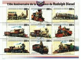 Guinea 2008, Trains, 150th Rudolf Diesel,  Overprinted III 9val In BF - Guinée (1958-...)