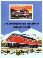 Guinea 2008, Trains, 150th Rudolf Diesel,  Overprinted III BF - Guinée (1958-...)
