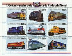 Guinea 2008, Trains, 150th Rudolf Diesel,  Overprinted IV 9val In BF - Guinée (1958-...)
