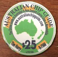AUSTRALIE AUSTRALIAN CHIP GUIDE 2010 CASINO CHIP $ 25 JETON TOKEN COIN LTD 100 EXEMPLAIRES - Casino