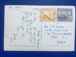 MALTA 1947 George VI Postcard Sent To France Tied With `Self-Government 1947 `overprints - Malta