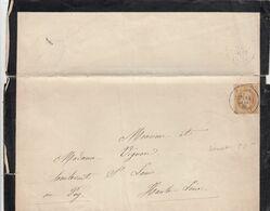 FRANCE - LETTRE DE DEUIL 14 JANV 1870 - Yv N°28 - PARIS SENAT POUR LE PUY EN VELAY  / 3 - Marcofilia (sobres)