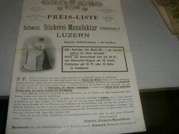 CATALOGO PREIS -LISTE SCHWEIZ STICKEREI MANUFAKTUR LUZERN PRIMI DEL 900 - Catalogues