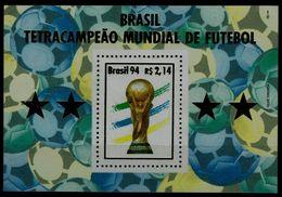 BRAZIL 1994 FOOTBALL BLOCK MI No BLOCK 96 MNH VF!! - Stamps