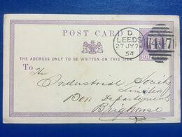 GB Victoria Pre-paid Postcard With Leeds Duplex 1874 - 1840-1901 (Regina Victoria)
