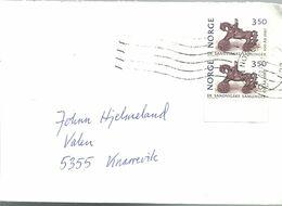 Norway Norge 1987 Maihaugen Museum, Horse, Mi 972 Pair On Cover - Norwegen