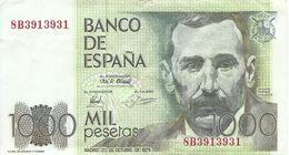 1979- 1000 PESETAS BENITO PÉREZ GALDÓS - CAÑADAS DEL TEIDE. TENERIFE-USADO-VER FOTOS - [ 4] 1975-… : Juan Carlos I