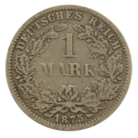 GERMANY - EMPIRE - 1 Mark - 1875 - F - Stuttgart - Silver - #DE080 - 1 Mark
