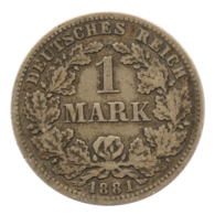 GERMANY - EMPIRE - 1 Mark - 1881 - D - München - Silver - #DE091 - 1 Mark