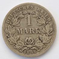 GERMANY - EMPIRE - 1 Mark - 1886 - D - München - Silver - #DE095 - 1 Mark